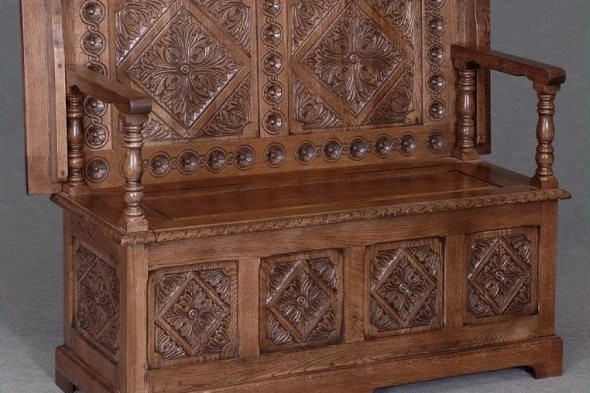 Solid Oak Carved Monks Bench