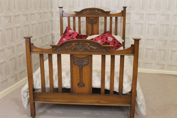 Antique Oak Double Bed Arts and Crafts