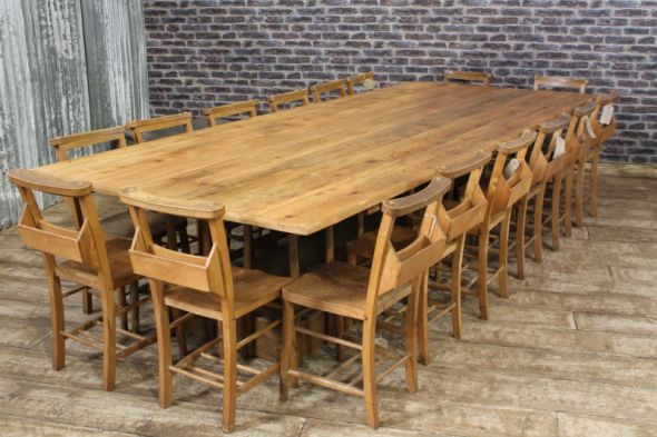 Large Pine Farmhouse Table with Reclaimed Top Can Seat 16 People