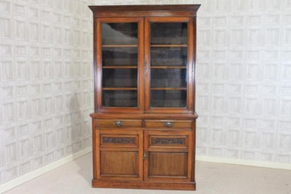 Edwardian Maple & Co Library Walnut Wardrobe