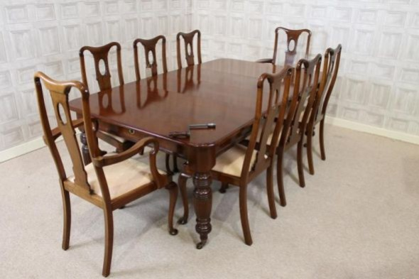 EDWARDIAN DINING ROOM TABLE & 8 CHAIRS