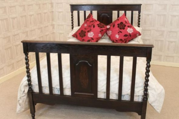 Edwardian oak barley twist double bed