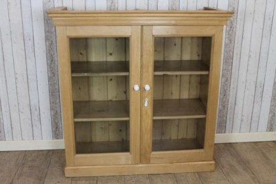 glazed pine bookcase