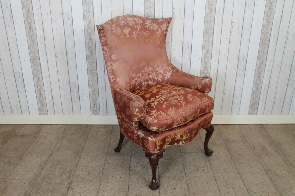 Floral winged armchair