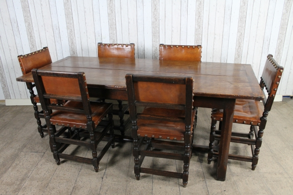 1920s Oak Refectory table & 6 chairs