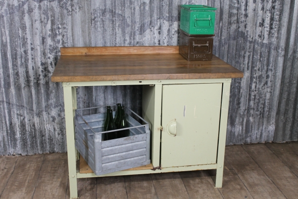 Industrial cupboard - yellow with pine top