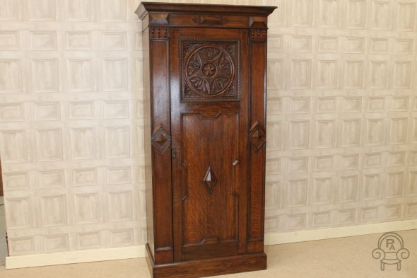 Oak carved 1920's hall robe