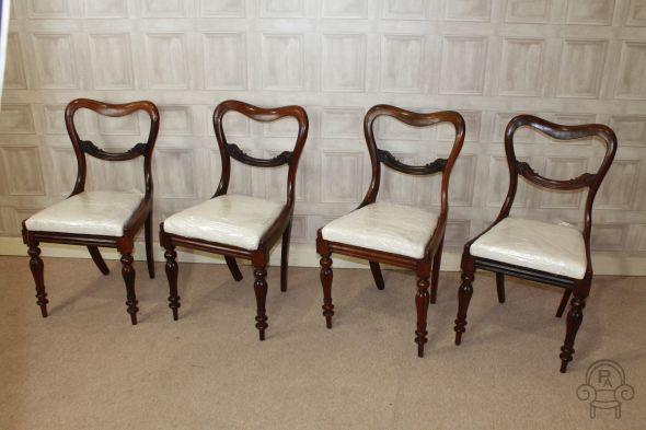 4 victorian balloon back chairs