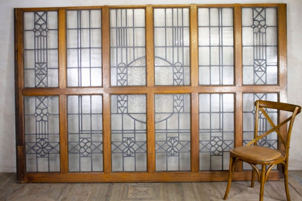 Solid Oak & Glass Room Dividers