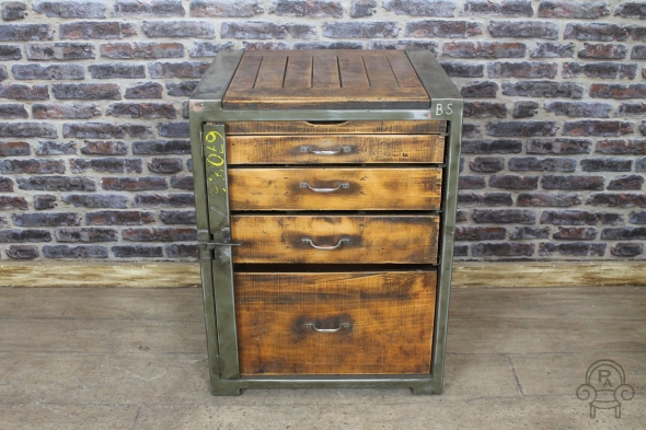 Vintage Military Drawers Industrial Metal Chest