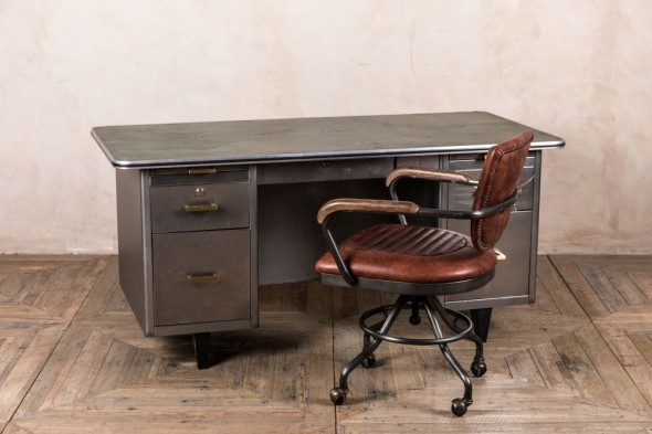 Vintage Four Drawer Metal Desk