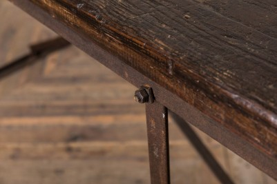 wooden top industrial table