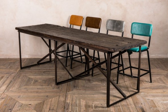 Vintage Wooden Industrial Style Table