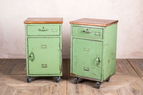 Pair Of Vintage Industrial Bedside Cabinets