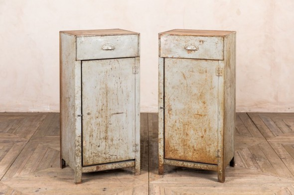 Tall Industrial Style Metal Bedside Cabinets