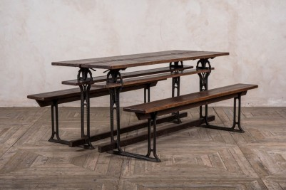 cast iron table and bench