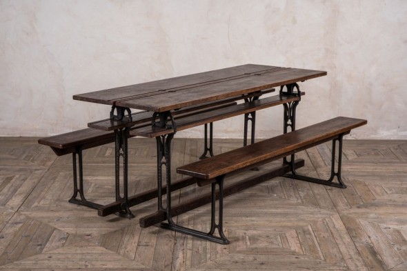 Pair of Metamorphic School Tables and Benches
