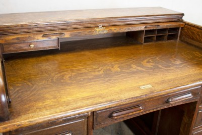 Edwardian Solid Oak Roll Top Desk