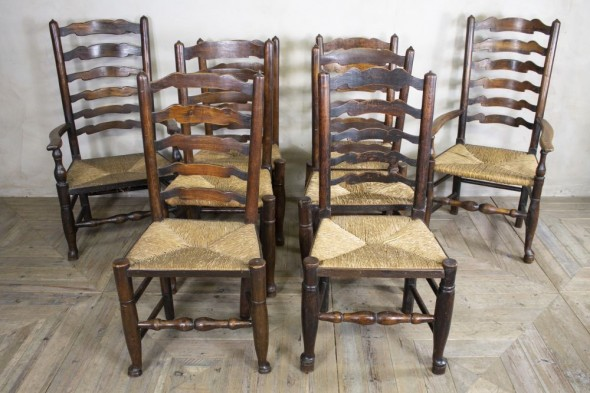 8 Ladderback Dining Chairs 17th Century
