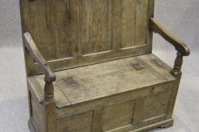 18th century oak box settle