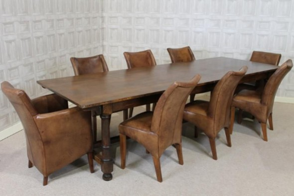 1920S OAK REFECTORY DINING TABLE