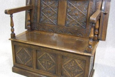 1930s carved monks bench