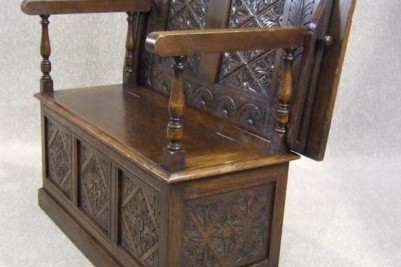 Antique oak monks bench