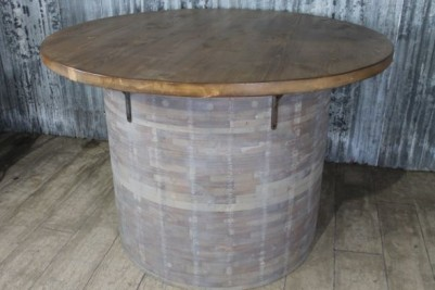 industrial barrel style table