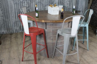 industrial barrel timber table