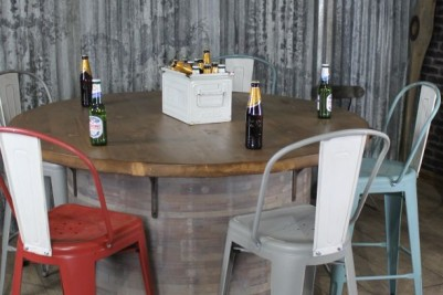 industrial style vintage barrel table
