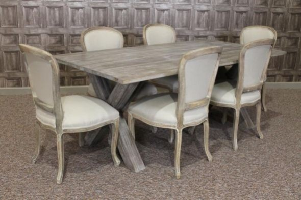 Disc - Cross leg limed oak table - Drayton (1 pcs)