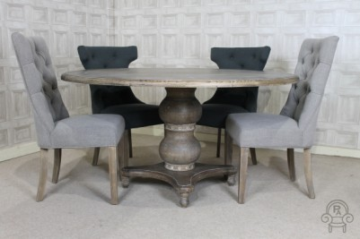 oak distressed round table