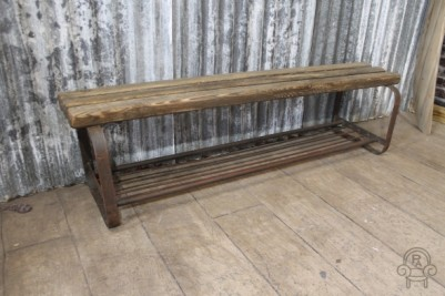 pine and steel bench