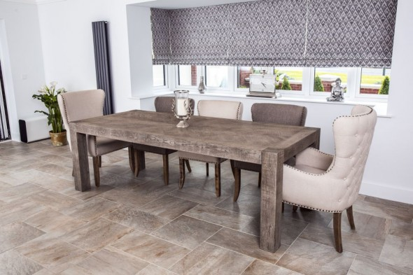 Herringbone Rustic Oak Dining Table Range