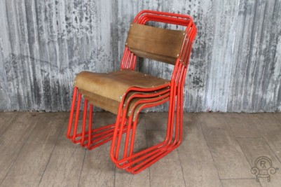 red framed cafe chair