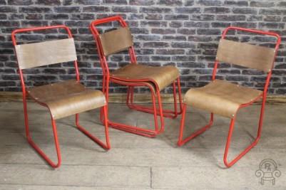 red framed restaurant chair