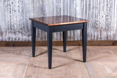 copper table with pine base