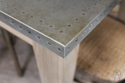 wooden cafe table with zinc top