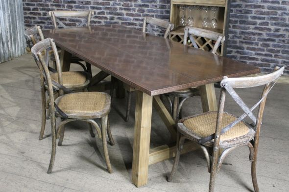 Malaga Zinc and Copper Dining Table Range