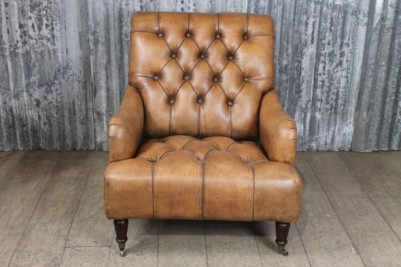 antique look leather armchair