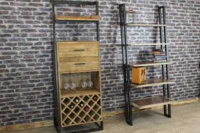 copper shelving unit and wine rack