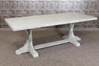 pine dining table with twin pedestal base
