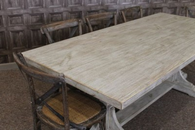restaurant table with distressed finish
