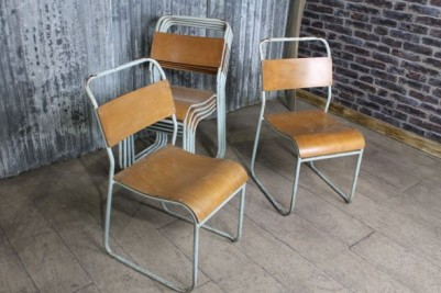 vintage metal stacking chair