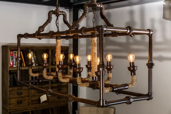10 Bulb Pipework Style Ceiling Light