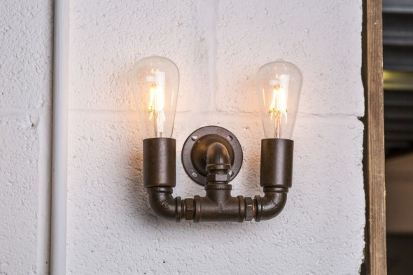 Two Bulb Steel Pipework Light
