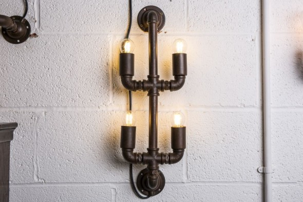 Four Bulb Vertical Industrial Style Wall Light
