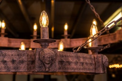 medieval inspired metal chandelier