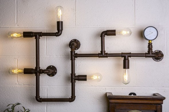 Six Bulb Pipework Wall Light