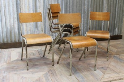 metal and plywood chairs